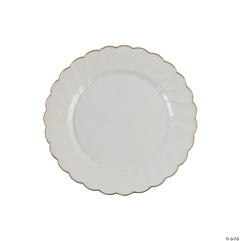"7 1/2"" Premium Cream Plastic Dessert Plates with Gold Scallop Trim - 20 Ct. Audio Thumbnail"