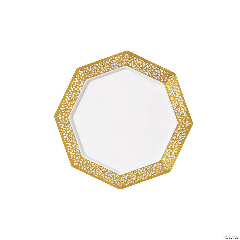 "7 1/2"" Premium White Octagon Plastic Dessert Plates with Gold Mosaic Trim - 25 Ct. Audio Thumbnail"