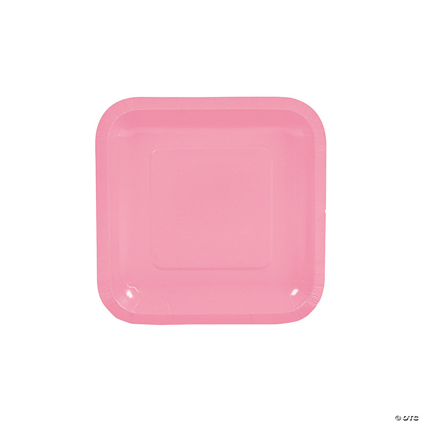 "7"" Candy Pink Square Paper Dessert Plates - 18 Ct. Audio Thumbnail"