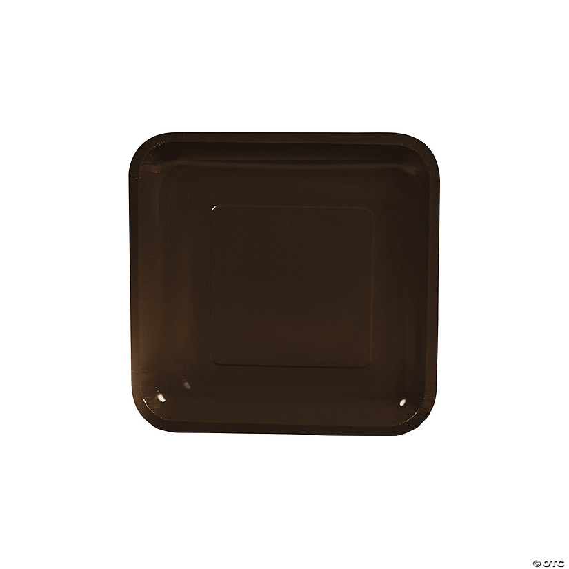 "7"" Chocolate Brown Square Paper Dessert Plates - 18 Ct. Audio Thumbnail"
