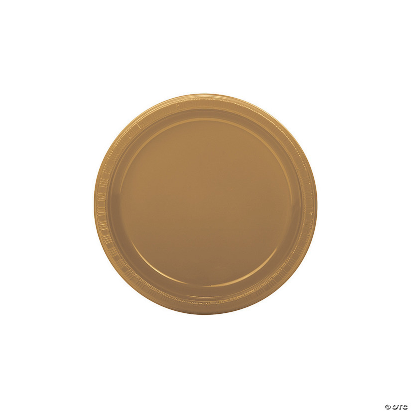 "7"" Gold Plastic Dessert Plates - 20 Ct. Audio Thumbnail"