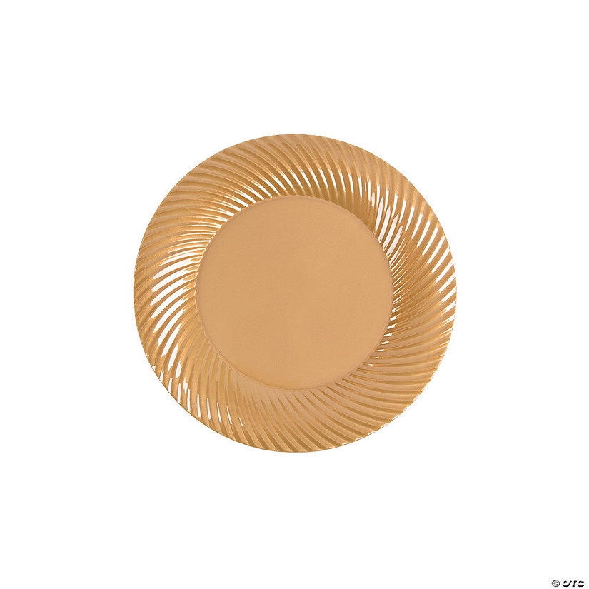 "7"" Gold Plastic Dessert Plates - 25 Ct. Audio Thumbnail"