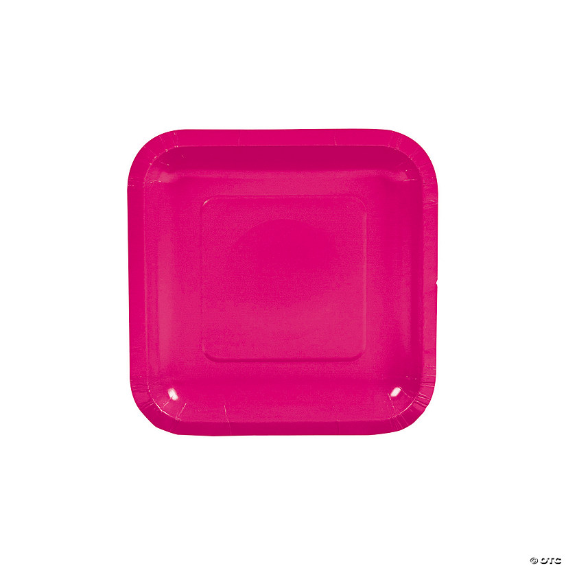 "7"" Hot Pink Square Paper Dessert Plates - 18 Ct. Audio Thumbnail"