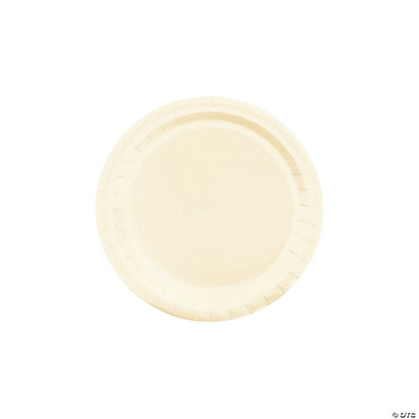 "7"" Ivory Paper Dessert Plates - 24 Ct. Audio Thumbnail"