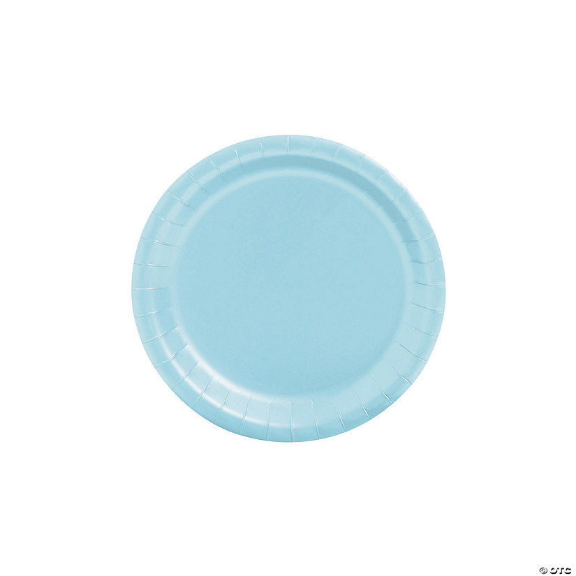 "7"" Light Blue Paper Dessert Plates - 24 Ct. Audio Thumbnail"