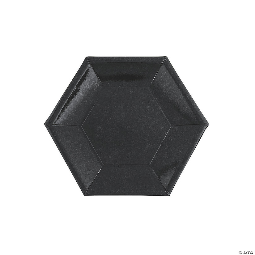 "7"" Metallic Black Hexagon Paper Dessert Plates - 24 Ct. Audio Thumbnail"