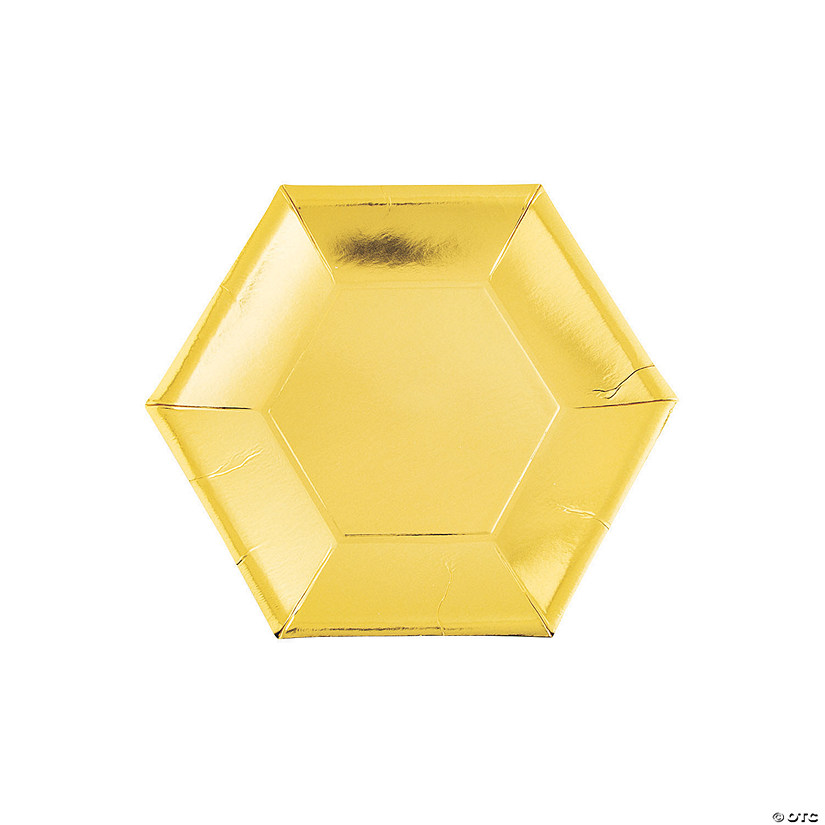 "7"" Metallic Gold Hexagon Paper Dessert Plates - 24 Ct. Audio Thumbnail"