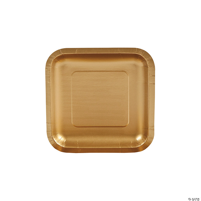 "7"" Metallic Gold Square Paper Dessert Plates - 18 Ct. Audio Thumbnail"