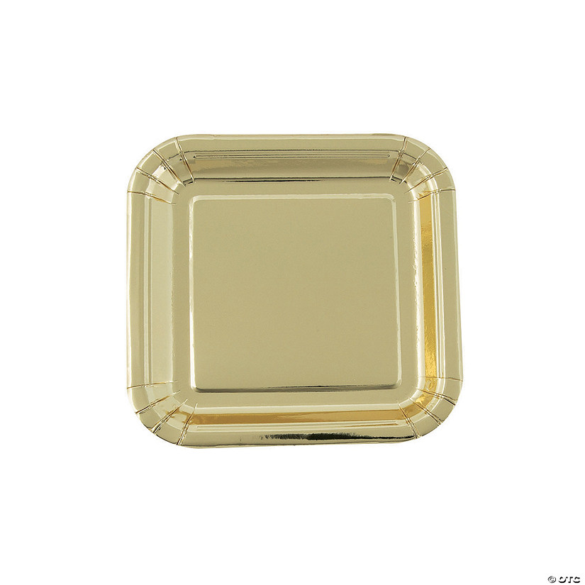 "7"" Metallic Gold Square Paper Dessert Plates - 8 Ct. Audio Thumbnail"