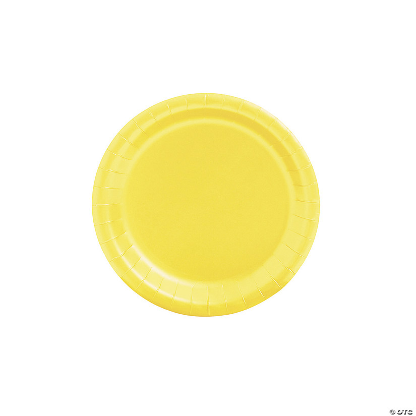 "7"" Mimosa Yellow Paper Dessert Plates - 24 Ct. Audio Thumbnail"