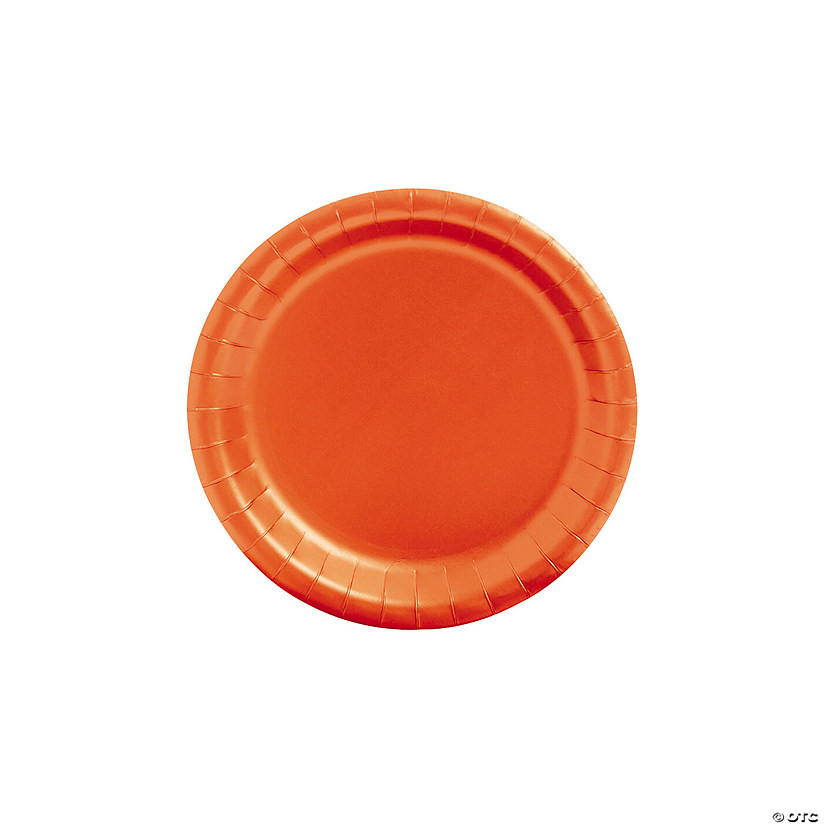 "7"" Orange Paper Dessert Plates - 24 Ct. Audio Thumbnail"