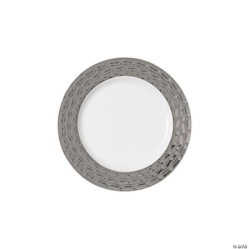 "7"" Premium White Plastic Dessert Plates with Hammered Pewter Design Trim - 25 Ct. Audio Thumbnail"