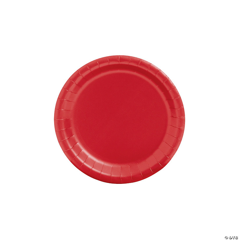 "7"" Red Paper Dessert Plates - 24 Ct. Audio Thumbnail"