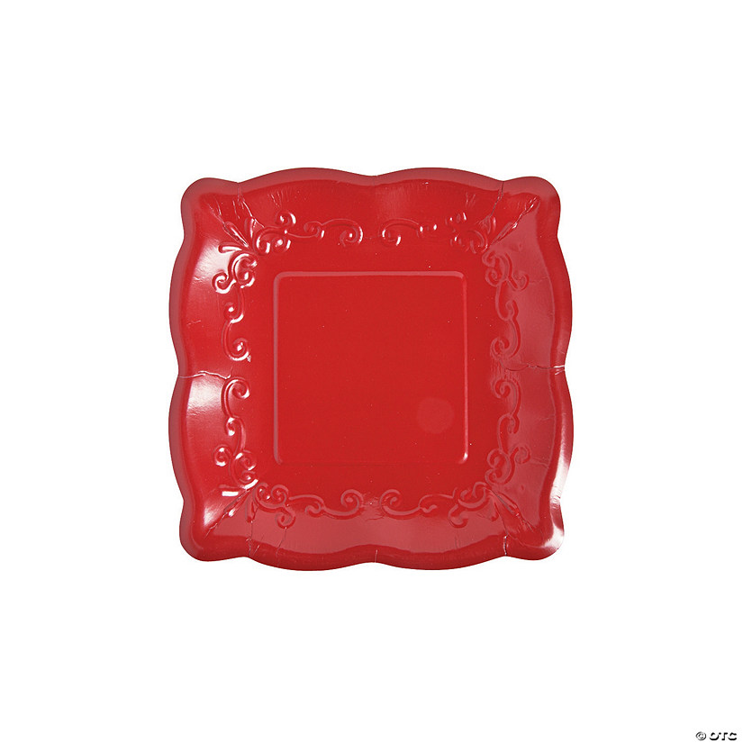 "7"" Red Scalloped Edge Paper Dessert Plates - 8 Ct. Audio Thumbnail"