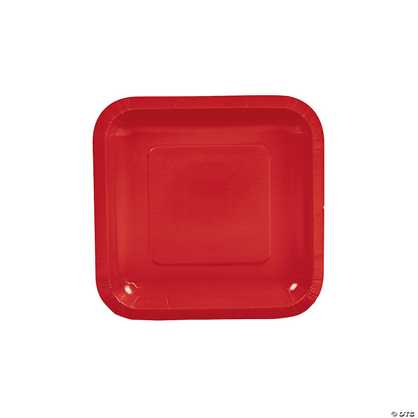 "7"" Red Square Paper Dessert Plates - 18 Ct. Audio Thumbnail"