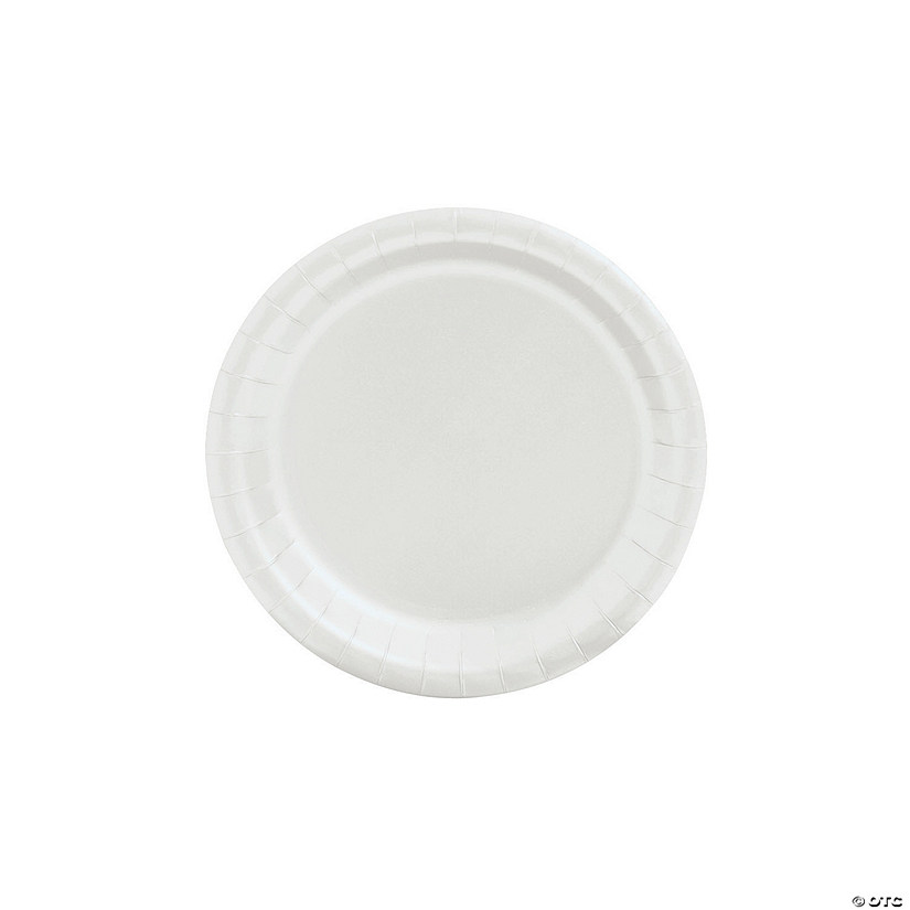 "7"" White Paper Dessert Plates - 24 Ct. Audio Thumbnail"