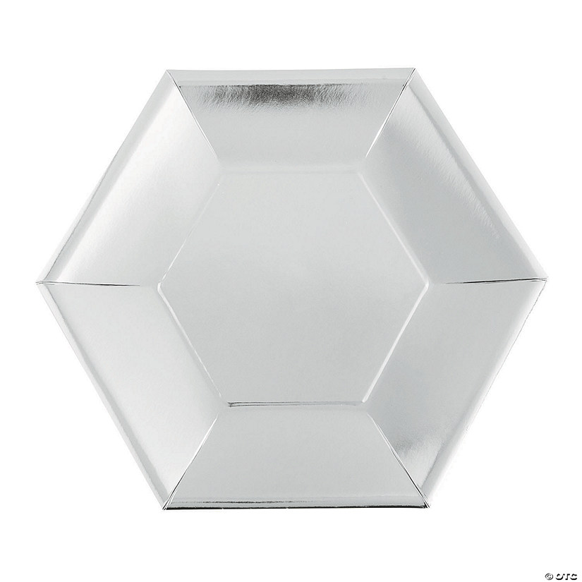 "8 1/2"" Metallic Silver Hexagon Paper Dinner Plates - 24 Ct. Audio Thumbnail"