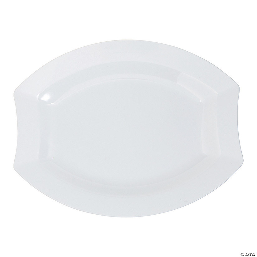 "8.5"" White Royalty Premium Plastic Oval Dinner Plates - 20 Ct. Audio Thumbnail"