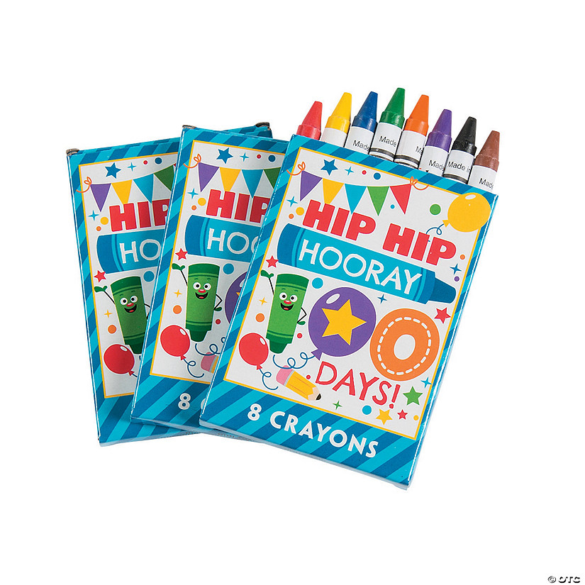 8-Color 100th Day of School Crayons - 12 Boxes Audio Thumbnail