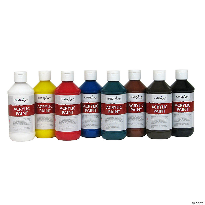 8-Oz. Basic Assorted Colors Acrylic Paint - Set of 8