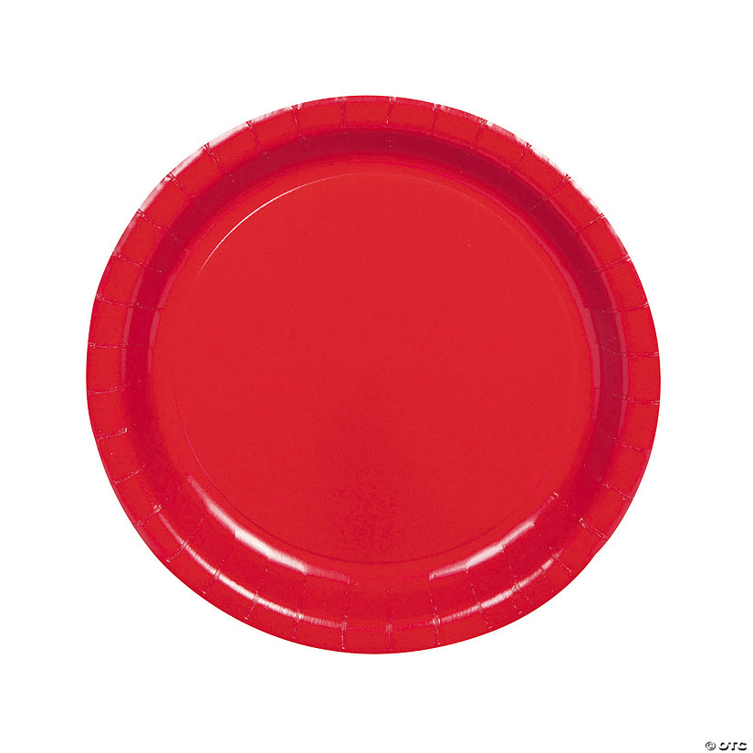 "9"" Bulk Classic Red Paper Dinner Plates - 75 Ct. Audio Thumbnail"
