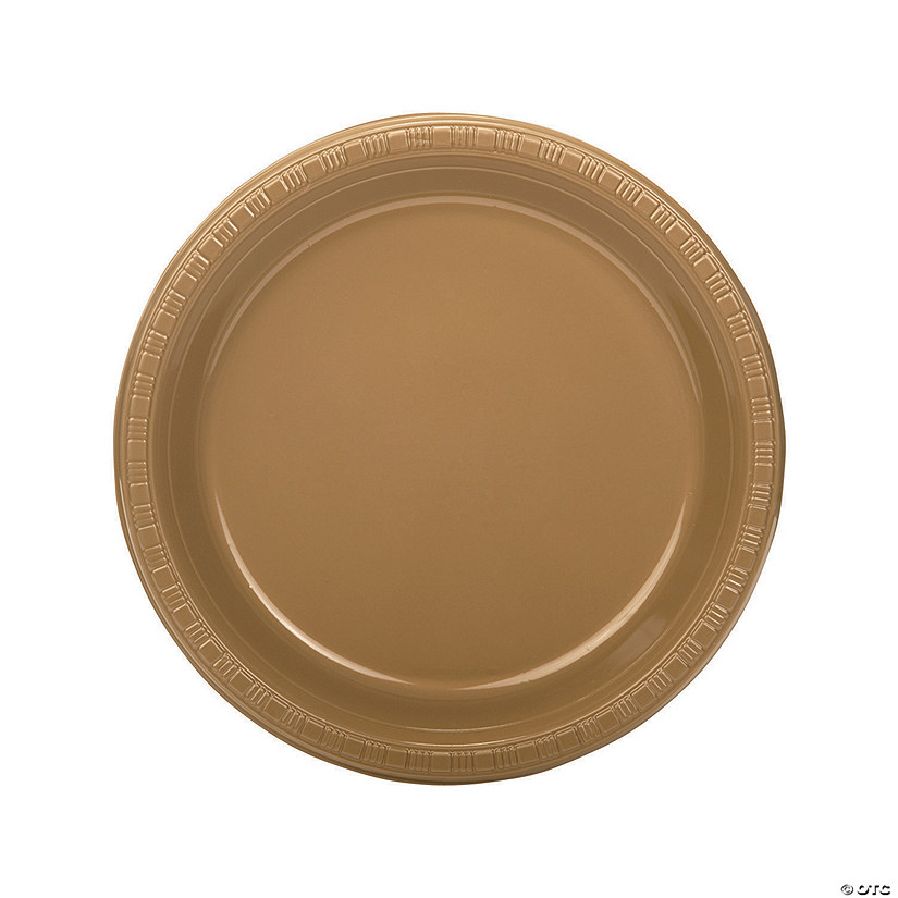 "9"" Bulk Gold Plastic Dinner Plates - 50 Ct. Audio Thumbnail"