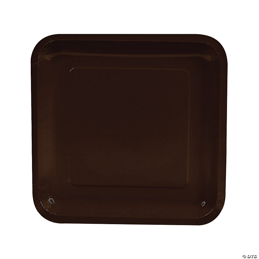 "9"" Chocolate Brown Square Paper Dinner Plates - 18 Ct. Audio Thumbnail"