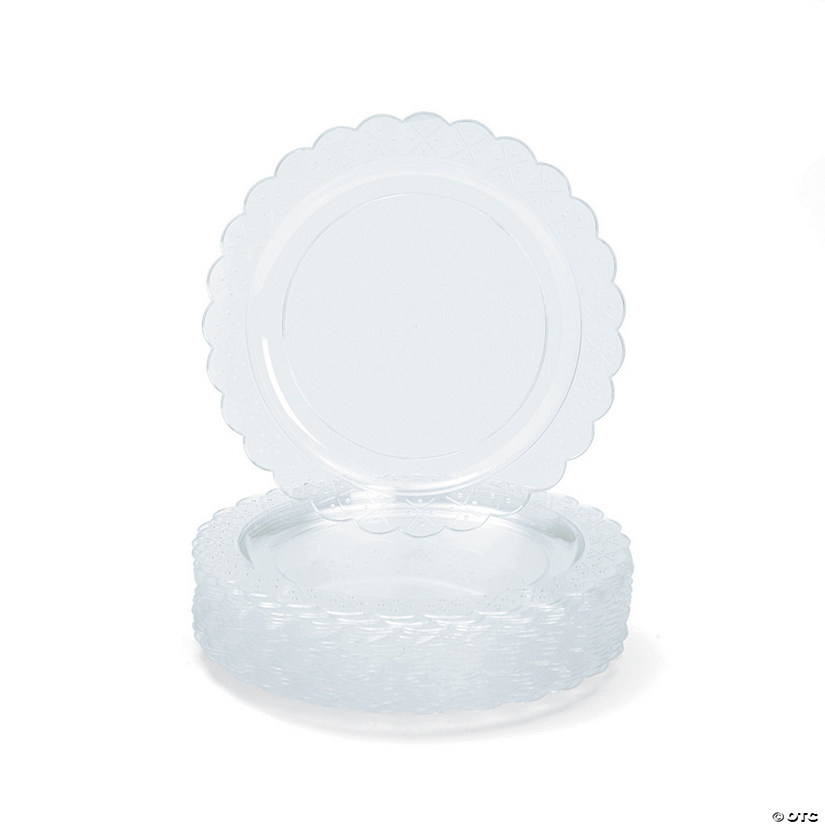 "9"" Clear Scalloped Plastic Dinner Plates - 25 Ct. Audio Thumbnail"