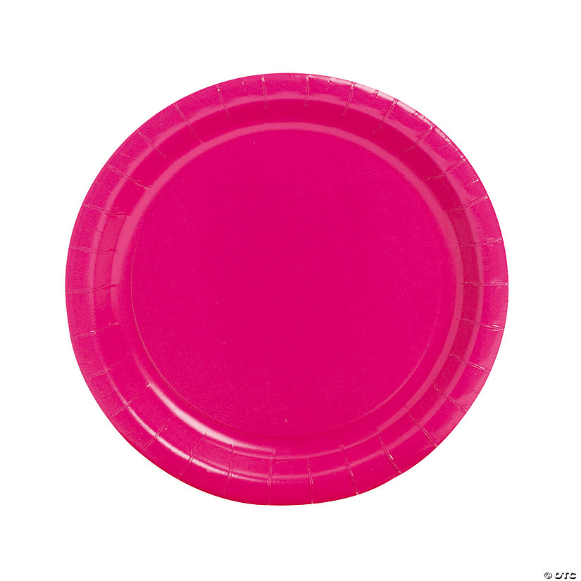 "9"" Hot Pink Paper Dinner Plates - 24 Ct. Audio Thumbnail"