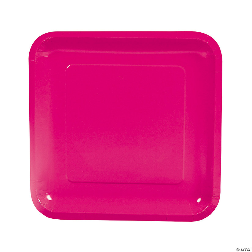 "9"" Hot Pink Square Paper Dinner Plates - 18 Ct. Audio Thumbnail"