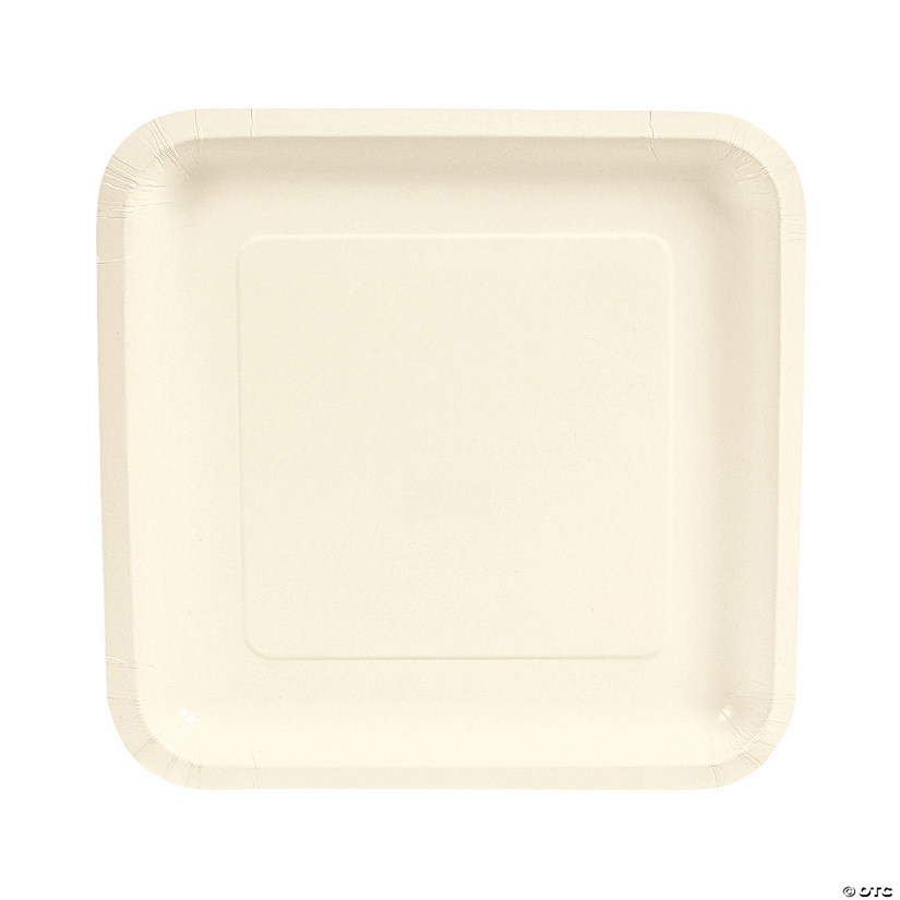 "9"" Ivory Square Paper Dinner Plates - 18 Ct. Audio Thumbnail"