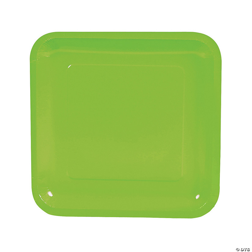 "9"" Lime Green Square Paper Dinner Plates - 18 Ct. Audio Thumbnail"