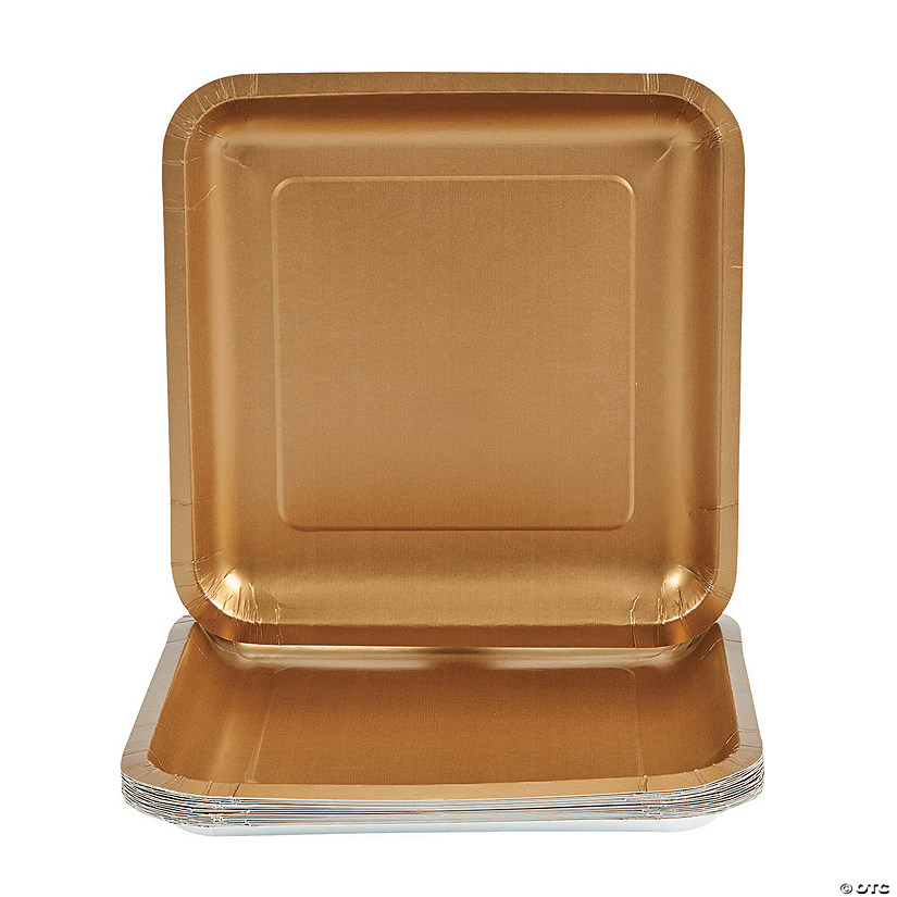 "9"" Metallic Gold Square Paper Dinner Plates - 18 Ct. Audio Thumbnail"