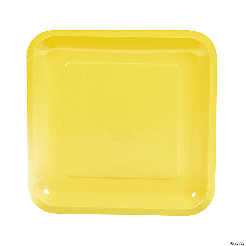 "9"" Mimosa Yellow Square Paper Dinner Plates - 18 Ct. Audio Thumbnail"