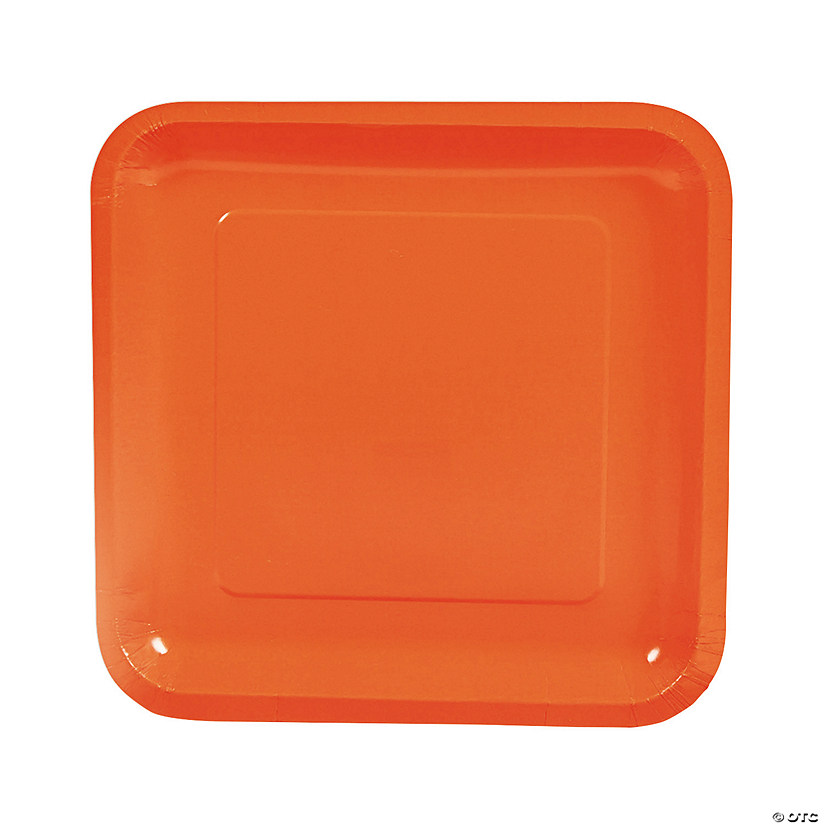 "9"" Orange Square Paper Dinner Plates - 18 Ct. Audio Thumbnail"