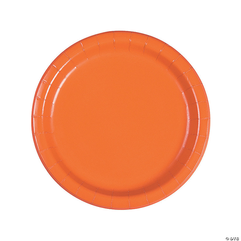 "9"" Pumpkin Orange Paper Dinner Plates - 24 Ct. Audio Thumbnail"