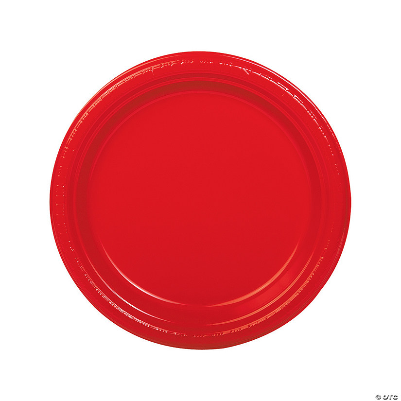 "9"" Red Plastic Dinner Plates - 20 Ct. Audio Thumbnail"