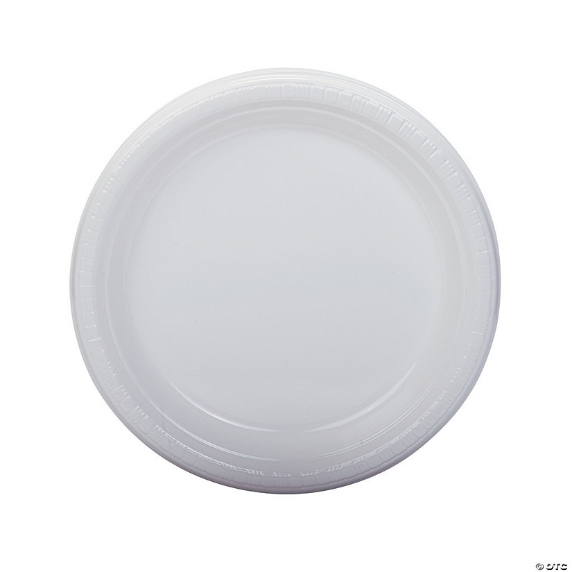 "9"" White Plastic Dinner Plates - 20 Ct. Audio Thumbnail"