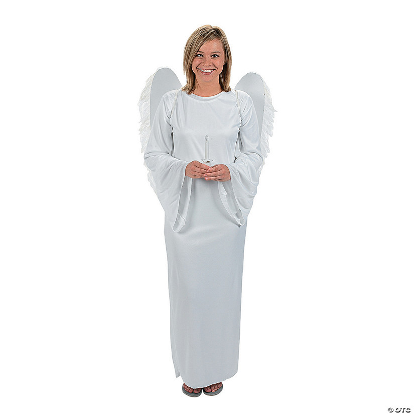 Adult Angel Costume with Angel Wings & Candle - Standard