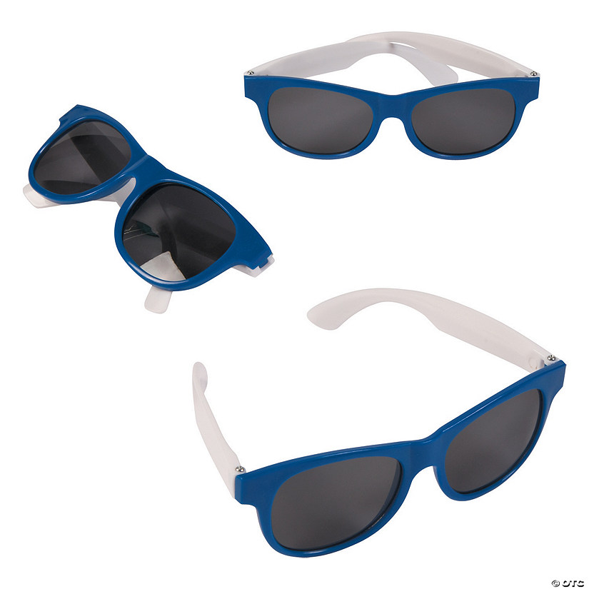 Adult's Blue & White Two-Tone Sunglasses - 12 Pc. Audio Thumbnail