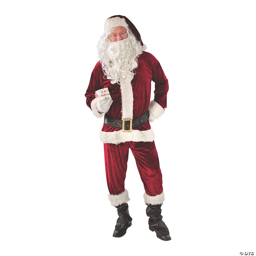 Adult's Crimson Velvet Santa Costume Audio Thumbnail