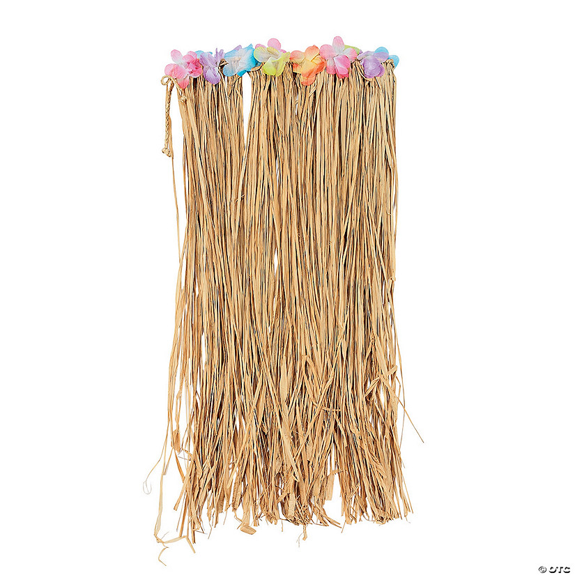 Adult's Flowered Raffia Hula Skirt Image Thumbnail