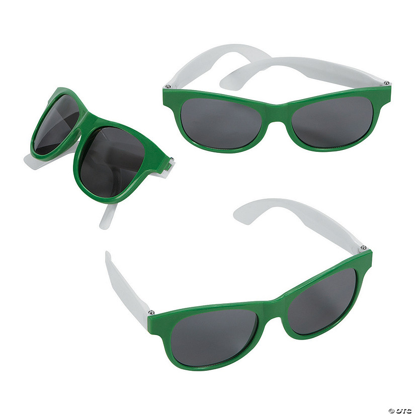 Adult's Green & White Two-Tone Sunglasses - 12 Pc. Audio Thumbnail