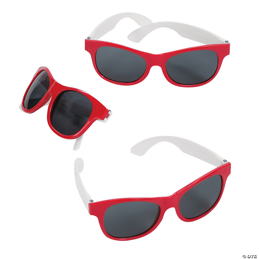 Adult's Red & White Two-Tone Sunglasses - 12 Pc. Audio Thumbnail