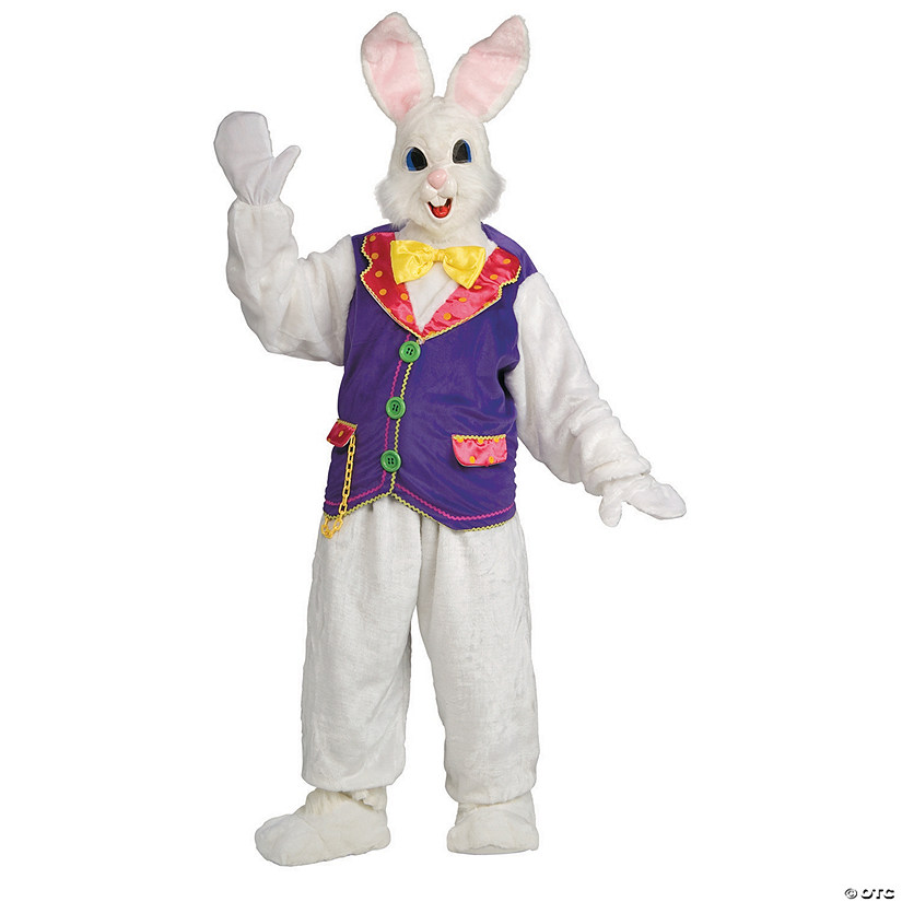 Adult's Deluxe Bunny Mascot Costume With Vest Audio Thumbnail