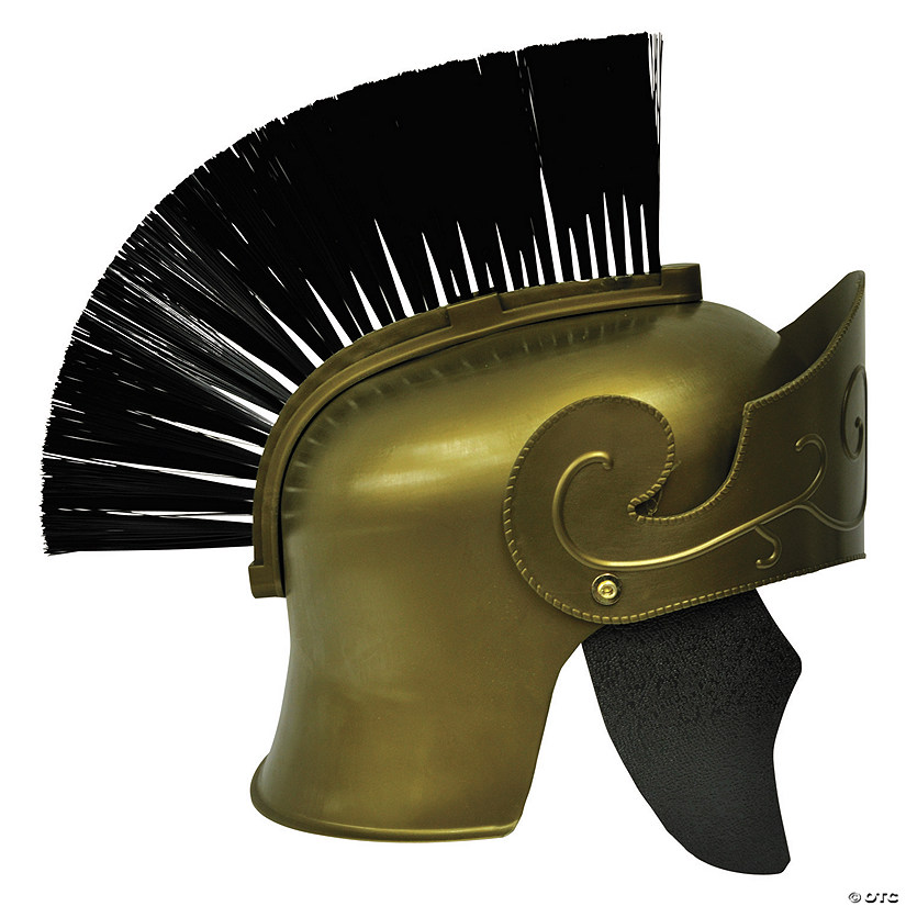 Adult's Gold Roman Helmet with Black Brush Audio Thumbnail