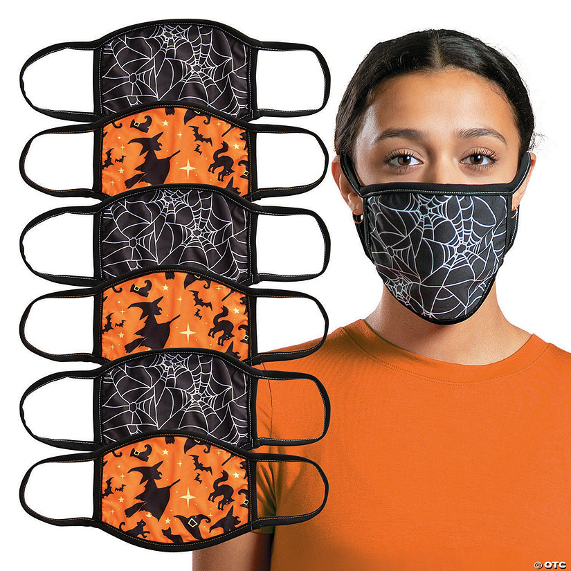 Adult's Halloween Washable Face Masks - 6 Pc. Image Thumbnail