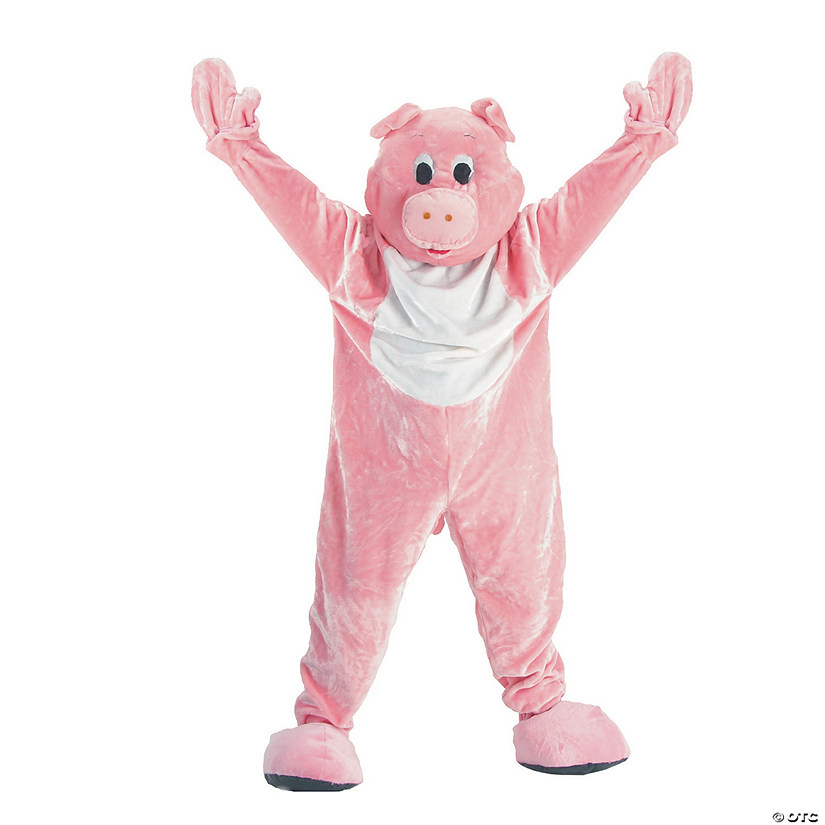 Adult's Plush Pink Pig Mascot Costume Audio Thumbnail