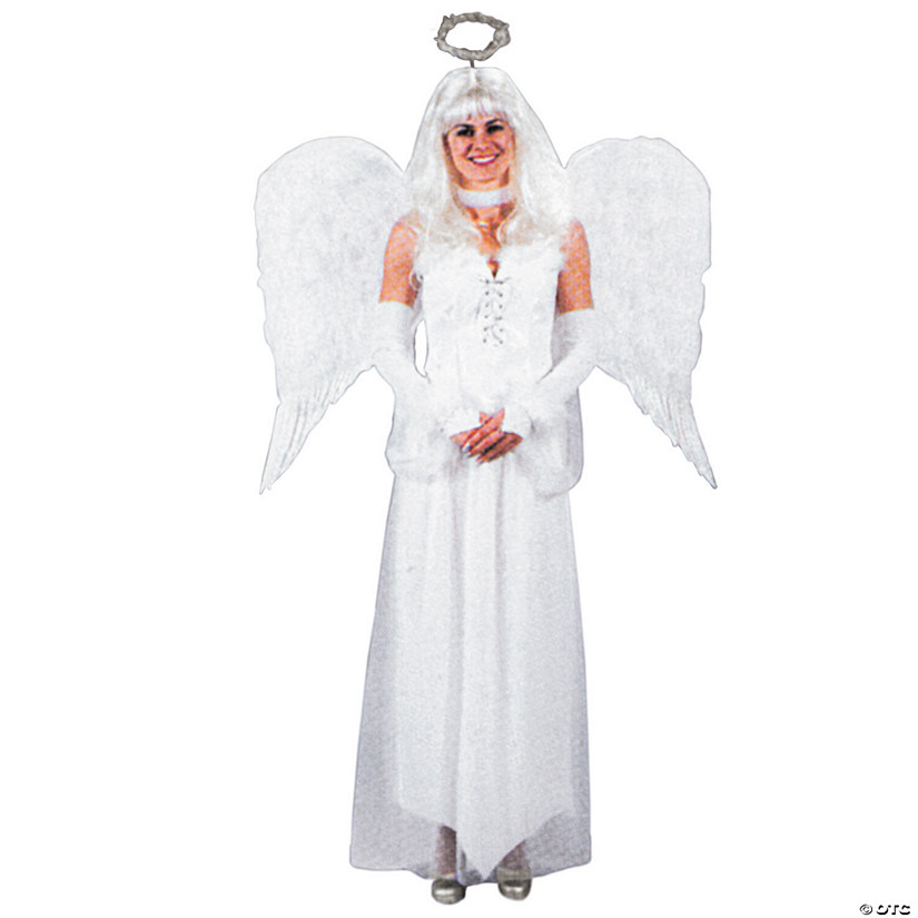 Adult's White Feather Angel Wings Image Thumbnail