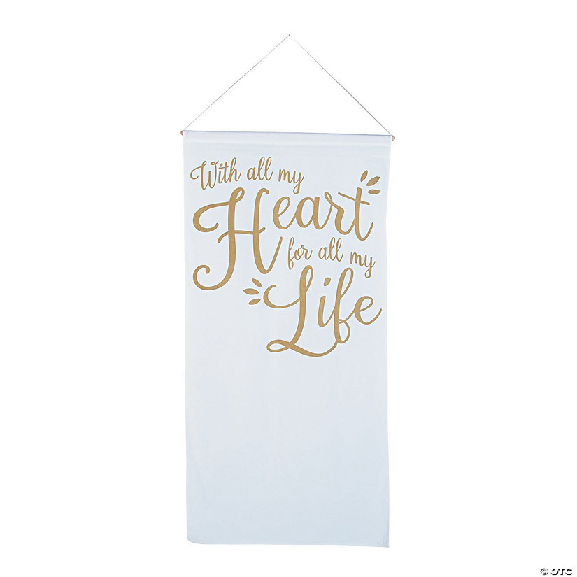 All My Heart Gold & White Cotton Banner